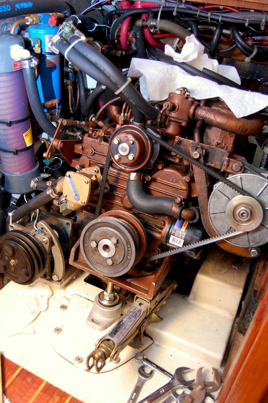 The small scissor-jack is critical on engines like this when replacing motor mounts.