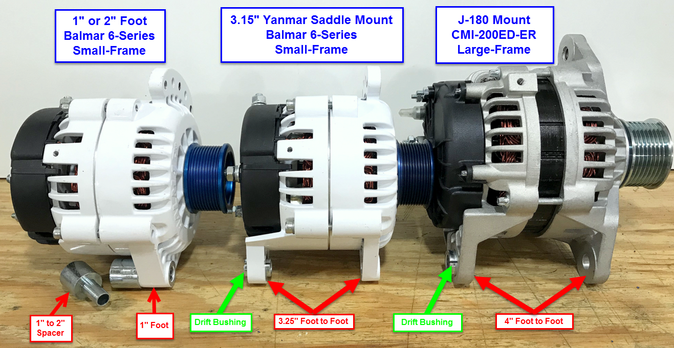 1″ & 2″ foot mounts – for aftermarket use most manufacturers will build 1″  foot alternator that can easily be converted to a 2″ foot with the addition  of a